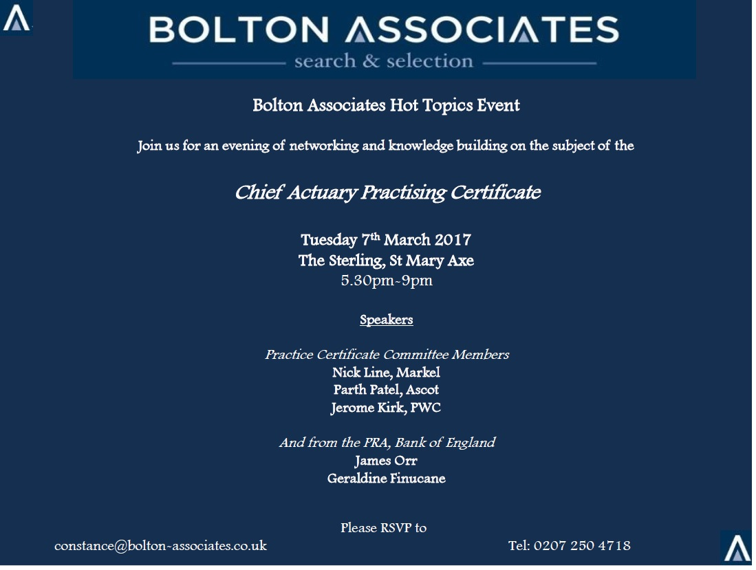 Bolton Associates - Hot Topics #2 Chief Actuary Certificate